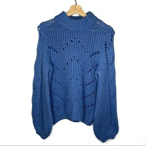 H&M Blue Cable Knit Sweater